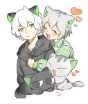2boys animal_ears black_cat black_hoodie blush cat cat_boy cat_ears collared_shirt green_eyes grey_cat grey_hair heart hood hood_down hoodie huangshou_(the_legend_of_luoxiaohei) long_sleeves luoxiaohei multiple_boys nyanmu1 open_mouth shirt short_hair simple_background smile the_legend_of_luo_xiaohei upper_body white_background white_hair