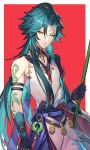 1boy absurdres ahoge arm_tattoo bangs bead_necklace beads black_hair closed_mouth facial_mark forehead_mark genshin_impact gloves green_hair highres hisehisekin jewelry long_hair male_focus multicolored_hair necklace simple_background solo tattoo xiao_(genshin_impact) yellow_eyes