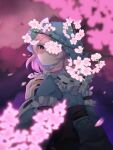 1girl bangs belt black_belt blue_dress blue_headwear blue_kimono blue_sleeves branch cherry_blossoms closed_mouth dress eyebrows_visible_through_hair flower from_behind hand_up hat highres japanese_clothes kimono long_sleeves looking_at_viewer mob_cap petals pink_eyes pink_flower pink_hair saigyouji_yuyuko shaded_face shadow short_hair solo touhou triangular_headpiece wankosoba wide_sleeves