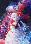 1girl bangs bouquet bridal_veil chan_yuan closed_mouth cross_(weapon) dress flower hair_flower hair_ornament highres holding holding_bouquet honkai_(series) honkai_impact_3rd looking_at_viewer petals red_eyes red_flower red_rose rose sleeveless sleeveless_dress smile solo theresa_apocalypse theresa_apocalypse_(luna_kindred) veil wedding_dress white_dress white_hair white_sleeves