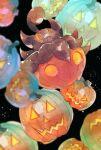 :< black_background blurry closed_mouth commentary fangs fangs_out halloween highres jack-o'-lantern neejyu no_humans orange_eyes pokemon pokemon_(creature) pumpkaboo pumpkin