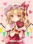 1girl ascot bangs blonde_hair blush bow box brooch closed_mouth commentary_request crystal drill_hair eyebrows_visible_through_hair flandre_scarlet flying_sweatdrops frilled_shirt_collar frills hair_between_eyes hair_bow hands_up hat heart heart-shaped_box highres holding holding_box jewelry looking_at_viewer medium_hair mob_cap nagisa_shizuku nervous one_side_up pink_background puffy_short_sleeves puffy_sleeves red_bow red_eyes red_skirt red_vest short_sleeves simple_background skirt solo touhou upper_body vest white_headwear wings wrist_cuffs yellow_neckwear