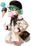 1girl absurdres bag beret black_headwear black_neckwear bow bowtie clothing_cutout commentary_request curly_hair dress eyebrows_visible_through_hair floating food green_eyes green_hair hair_between_eyes hat highres ice_cream licking looking_at_viewer one-punch_man short_hair shoulder_cutout simple_background solo tatsumaki thighs torriet white_background white_dress
