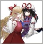 2girls :/ alternate_costume alternate_hairstyle arm_up ascot bangs black_hair blonde_hair blue_neckwear blush bow breasts brown_eyes cosplay costume_switch detached_sleeves eyebrows_visible_through_hair flat_chest frilled_shirt_collar frills gap_(touhou) grin hair_bow hair_ribbon hakurei_reimu hakurei_reimu_(cosplay) hat large_breasts long_hair long_sleeves looking_at_viewer medium_hair mob_cap multiple_girls nontraditional_miko one_eye_closed red_bow red_ribbon ribbon simple_background smile standing sweatdrop t20210325 tabard touhou tress_ribbon upper_body white_background wide_sleeves yakumo_yukari yakumo_yukari_(cosplay) yellow_eyes