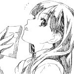 1girl book eyebrows_visible_through_hair eyelashes face greyscale hatching hatching_(texture) holding holding_book hounyouin long_eyelashes long_hair lowres monochrome open_book open_mouth original simple_background sketch solo teeth tongue upper_body upper_teeth white_background
