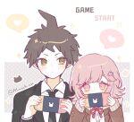 1boy 1girl bangs black_jacket blush brown_eyes brown_hair brown_jacket closed_mouth collared_shirt commentary_request danganronpa_(series) danganronpa_3_(anime) dress_shirt flipped_hair formal hair_ornament handheld_game_console hands_up heart hinata_hajime holding holding_handheld_game_console hood hood_down hope's_peak_academy_school_uniform jacket looking_at_another mao_gao_gao nanami_chiaki necktie nintendo_switch open_clothes open_jacket pink_eyes pink_hair playing_games ribbon school_uniform shirt spoken_heart white_shirt