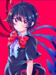 1girl asymmetrical_wings bangs black_dress black_hair black_legwear black_wristband blush bow breasts center_frills closed_mouth commentary_request dress frills hair_between_eyes highres houjuu_nue looking_at_viewer oataruu puffy_short_sleeves puffy_sleeves red_background red_eyes red_nails red_neckwear ribbon short_hair short_sleeves simple_background small_breasts smile solo standing thigh-highs touhou upper_body wings wristband