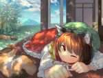 1girl ahoge animal animal_ear_fluff animal_ears bangs blue_sky brown_eyes brown_hair calico cat cat_ears cat_tail chen closed_mouth clouds cloudy_sky dappled_sunlight dress earrings frilled_dress frills highres jewelry long_sleeves looking_at_viewer lying one_eye_closed red_dress shadow single_earring sky sunlight tail touhou wankosoba white_sleeves wooden_floor