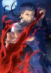 1boy armor blue_bodysuit blue_hair bodysuit covered_abs cowboy_shot cu_chulainn_(fate) cu_chulainn_(fate/stay_night) earrings fang fate/stay_night fate_(series) gae_bolg_(fate) grin holding holding_weapon jewelry long_hair looking_at_viewer male_focus mondi_hl moon muscular muscular_male night outdoors polearm ponytail red_eyes shoulder_armor smile solo spear teeth weapon