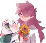2boys animal_ears aqua_eyes backpack bag blush cat_ears fengxi_(the_legend_of_luoxiaohei) flower hair_over_one_eye hand_on_another's_head holding holding_flower long_hair luoxiaohei multiple_boys pointy_ears profile purple_hair red_ribbon ribbon ryoto_328 shirt short_hair short_sleeves simple_background smile the_legend_of_luo_xiaohei violet_eyes white_background white_hair white_shirt yellow_flower