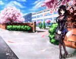 1girl black_hair black_legwear blazer blue_skirt blue_sky blush brick_wall bush cherry_blossoms clouds condensation_trail date_a_live day hair_over_one_eye heterochromia highres jacket legs_together loafers long_hair looking_at_viewer mountain neck_ribbon outdoors pantyhose pleated_skirt red_eyes revision ribbon school_briefcase school_uniform shoes skirt sky smile solo thighband_pantyhose tokisaki_kurumi tree tsubasaki yellow_eyes