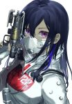 1girl apex_legends arm_up b3_wingman bangs black_hair black_nails bodysuit closed_mouth cosplay covered_mouth english_commentary gun hand_up handgun highres hisui_ill holding holding_gun holding_weapon ichinose_uruha long_hair looking_at_viewer lupinus_virtual_games mask multicolored_hair pistol quarantine_722_wraith simple_background solo streaked_hair upper_body violet_eyes virtual_youtuber vspo! weapon white_background white_bodysuit wraith_(apex_legends) wraith_(apex_legends)_(cosplay)