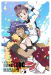 2boys :d argyle arm_up bangs baseball_cap brown_eyes brown_hair cape carrying champion_uniform clouds collared_shirt commentary_request confetti dark-skinned_male dark_skin day dynamax_band facial_hair fur-trimmed_cape fur_trim gloves gym_challenge_uniform hat knees leggings leon_(pokemon) long_hair looking_at_viewer male_focus multiple_boys open_mouth outdoors pokemon pokemon_(game) pokemon_swsh purple_hair red_cape shirt shoes short_shorts short_sleeves shorts sky smile socks teeth tongue upper_teeth victor_(pokemon) white_footwear white_legwear white_shirt white_shorts xichii