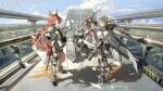 4girls animal_ears arm_guards armor armored_boots arrow_(projectile) ashlock_(arknights) bangs belt belt_pouch black_gloves black_legwear black_scarf black_shorts black_skirt boots bridge brown_hair character_request city closed_mouth commentary company_name copyright_name day dress ear_ornament elbow_gloves elbow_pads english_commentary fartooth_(arknights) faulds feather_hair flametail_(arknights) full_body glint gloves green_eyes hand_on_hip helmet highres holding holding_polearm holding_sword holding_weapon iwona_(arknights) knee_boots knee_pads lance long_hair long_sleeves looking_at_viewer mask mask_around_neck miniskirt multiple_girls official_art one_knee outdoors polearm ponytail pouch puffy_long_sleeves puffy_sleeves red_dress red_eyes scarf shield shirt shorts silver_hair skirt smile standing sword tail tamomoko thigh-highs thigh_pouch thigh_strap very_long_hair weapon white_shirt yellow_eyes