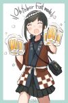 1girl alcohol beer beer_mug black_skirt blue_shirt blush brown_hair closed_eyes commentary_request cup english_text eyebrows_visible_through_hair fubuki_(kancolle) happi highres holding jacket japanese_clothes kantai_collection low_ponytail ma_rukan mug open_mouth red_jacket shirt short_hair sidelocks skirt smile solo