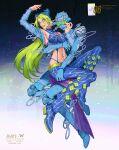 1girl absurdres aqua_hair bare_shoulders blue_pants braid breasts double_bun full_body green_eyes green_hair green_lips green_nails hair_cones halter_top halterneck highres jojo_no_kimyou_na_bouken kujo_jolyne lipstick looking_at_viewer makeup multicolored_hair nail_polish navel navel_piercing pants piercing small_breasts stand_(jojo) star_(symbol) stone_free stone_ocean two-tone_hair v-shaped_eyebrows veela
