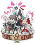 2boys 2girls agnes_oblige ahoge anniversary armor black_dress blonde_hair blue_eyes boots bravely_default:_flying_fairy bravely_default_(series) brown_eyes brown_hair dress edea_lee fighting_stance gloves hat ikusy multiple_boys multiple_girls official_art pleated_dress pompadour red_footwear ringabel shield short_dress sidelocks staff sword thigh-highs thigh_boots tiz_oria weapon white_dress witch_hat wizard_hat