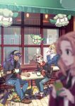 2boys 2girls alternate_costume bangs baseball_cap black_shirt blonde_hair blurry blurry_foreground boltund brown_footwear chair closed_mouth commentary_request cottonee cup dark-skinned_male dark_skin day facial_hair gloves grookey hand_up hat helioptile holding holding_cup holding_phone hood hood_down hoodie jacket lass_(pokemon) leon_(pokemon) long_hair long_sleeves mug multiple_boys multiple_girls office_worker_(pokemon) open_clothes open_jacket outdoors pants phone pokemon pokemon_(creature) pokemon_(game) pokemon_swsh purple_hair shirt shoes single_glove sitting smile strap table taking_picture victor_(pokemon) window xichii yellow_eyes zipper