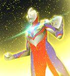 1boy absurdres alien aura color_timer commentary_request glitter_tiga glowing glowing_eyes highres kal_(kaerutoyomu) light_particles shiny solo tokusatsu ultra_series ultraman_tiga ultraman_tiga_(series) yellow_eyes
