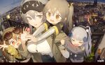 4girls absurdres bandaid bandaid_on_nose bangs black_hairband blunt_bangs breasts brown_hair candy carrying city cityscape closed_eyes coat eyewear_on_head food g11_(girls'_frontline) girls_frontline grey_eyes grey_hair hair_between_eyes hair_ornament hairband highres hk416_(girls'_frontline) holding holding_candy holding_food holding_lollipop large_breasts layered_sleeves lollipop long_hair long_sleeves multiple_girls night older open_mouth piggyback scar scar_across_eye shirt short_over_long_sleeves short_sleeves silver_hair sleeves_past_wrists thigh-highs tianliang_duohe_fangdongye ump45_(girls'_frontline) ump9_(girls'_frontline) white_legwear white_shirt yellow_eyes younger