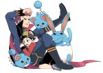 2boys azumarill backwards_hat baseball_cap black_hair black_shorts boots clenched_hand commentary_request ethan_(pokemon) hat hood hood_down jacket lance_(pokemon) leg_up long_sleeves male_focus marill multiple_boys pants parted_lips pokemon pokemon_(creature) pokemon_(game) pokemon_hgss red_jacket redhead short_hair shorts simple_background spiky_hair sweatdrop white_background xichii