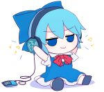 1girl blue_bow blue_dress blue_eyes blue_hair bow cirno collared_shirt digital_media_player dress fumo_(doll) hands_on_headphones headphones highres ipod listening_to_music long_dress neck_ribbon pinafore_dress puffy_short_sleeves puffy_sleeves red_neckwear rei_(tonbo0430) ribbon shirt short_hair short_sleeves simple_background smug solo touhou white_background white_shirt