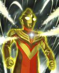 1boy alien aura color_timer commentary_request glitter_tiga glowing light_particles no_humans solo sparkle tokusatsu ultra_series ultraman_tiga ultraman_tiga_(series) upper_body yellow_eyes yusao