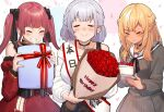 3girls :> black_choker black_neckwear black_ribbon blush bouquet braid breasts cake choker closed_eyes closed_mouth detached_sleeves dress facing_viewer flower food french_braid fruit gift grey_dress grin happy_birthday happy_tears holding holding_bouquet holding_cake holding_food holding_gift hololive houshou_marine juliet_sleeves large_breasts long_hair long_sleeves mikan_(chipstar182) multiple_girls neck_ribbon off-shoulder_sweater off_shoulder pointy_ears puffy_sleeves red_dress red_flower red_rose redhead ribbon rose sailor_collar sailor_dress shiranui_flare shirogane_noel shoulder_sash smile strawberry strawberry_shortcake sweater tears twintails white_sailor_collar white_sweater