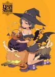 1girl aka_ringo basket bat_wings black_footwear black_hair black_headwear black_skirt candle candy collarbone fang food full_body green_eyes halloween halloween_costume hat highres holding holding_candy holding_food jack-o'-lantern kantai_collection mary_janes open_mouth orange_background scirocco_(kancolle) shoes short_hair skirt smile solo tombstone turret wings witch_hat