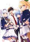 1boy 3girls :t ahoge alzano_school_uniform arm_behind_back bangs blonde_hair blue_capelet blue_eyes blue_hair blue_hairband blue_legwear blurry blurry_foreground blush book book_hug boots breasts briefcase brown_footwear capelet choker closed_mouth cover_image cowboy_shot crop_top cross-laced_footwear dutch_angle eyebrows_visible_through_hair garter_straps glenn_radars gloves green_eyes green_ribbon grey_gloves hair_ornament hair_ribbon hair_tucking hairband highres holding holding_book holding_briefcase lace-up_boots long_hair looking_at_viewer looking_back midriff miniskirt mishima_kurone multiple_girls navel neck_ribbon object_hug official_art parted_lips petals pleated_skirt ponytail pout red_ribbon ribbon rokudenashi_majutsu_koushi_to_akashic_record rumia_tingel ryiel_rayford school_uniform shiny shiny_hair sidelocks silver_hair simple_background single_glove sistine_fiber skirt small_breasts smile suspender_skirt suspenders textless thigh-highs thighs white_background white_ribbon white_skirt wind wrist_cuffs zettai_ryouiki