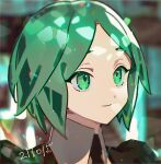1other androgynous bangs blurry blurry_background closed_mouth collared_shirt commentary crystal_hair dated gem_uniform_(houseki_no_kuni) green_eyes green_hair haun houseki_no_kuni phosphophyllite shirt short_hair smile solo symbol-only_commentary