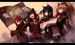 4girls animal_ears arknights axe bangs bear_ears belt black_belt black_choker black_hair black_jacket black_nails breasts brown_hair character_request check_character choker commentary_request cowboy_shot eyebrows_visible_through_hair fangs grey_eyes head_tilt highres holding holding_axe holding_weapon ink. jacket large_breasts long_hair long_sleeves multicolored_hair multiple_girls myrtle_(arknights) nail_polish navel open_clothes open_jacket open_mouth over_shoulder red_shirt redhead shirt siege_(arknights) standing streaked_hair texas_(arknights) upper_body weapon weapon_over_shoulder zima_(arknights)