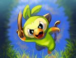 black_eyes blurry bright_pupils commentary_request day fang full_body grookey holding holding_stick komori_(25nda01mo) no_humans open_mouth outdoors pokemon pokemon_(creature) solo stick tongue