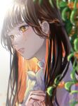 1girl bangs black_hair blunt_bangs brown_hair colored_inner_hair crossed_arms crying crying_with_eyes_open frills highres light_rays looking_away multicolored_hair orange_eyes orange_hair orev4xx original outdoors sidelocks solo tears upper_body