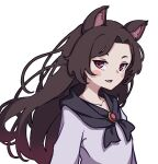 1girl absurdres animal_ears blush_stickers breasts brooch brown_hair collarbone dress eyebrows fang highres imaizumi_kagerou jewelry kame_(kamepan44231) long_hair long_sleeves looking_at_viewer red_eyes simple_background small_breasts smile solo touhou white_background white_dress wolf_ears
