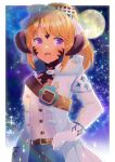 1girl :d bangs belt belt_buckle blonde_hair blue_skirt blurry blurry_background blush brown_belt buckle commission depth_of_field eyebrows_visible_through_hair full_moon gloves hand_on_hip hood hood_down hooded_jacket horns jacket kou_hiyoyo long_hair long_sleeves looking_at_viewer moon open_clothes open_jacket open_mouth original ponytail scales shirt skeb_commission skirt smile solo violet_eyes white_gloves white_jacket white_shirt