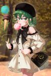 1girl absurdres bag beret black_headwear black_neckwear bow bowtie clothing_cutout commentary_request curly_hair dress eyebrows_visible_through_hair floating food green_eyes green_hair hair_between_eyes hat highres ice_cream licking looking_at_viewer one-punch_man outdoors short_hair shoulder_cutout solo tatsumaki thighs torriet white_dress