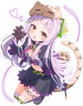 1girl absurdres animal_hands animal_hat bangs black_capelet black_footwear black_shirt black_skirt blush bow brown_gloves capelet claw_pose commentary_request crop_top divergenceok full_body gloves hair_bun hair_ornament hat heart highres holding holding_wand hololive long_hair long_sleeves looking_at_viewer midriff murasaki_shion navel open_mouth pink_bow pinstripe_pattern pinstripe_shirt purple_hair shirt shoes short_eyebrows simple_background skirt solo striped tail thigh-highs thigh_strap v-shaped_eyebrows very_long_hair virtual_youtuber wand white_background yellow_eyes