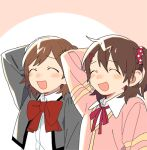 2girls ^_^ ^o^ aijou_karen arm_behind_head arm_up backlighting bangs blush blush_stickers bow bowtie brown_hair cardigan circle closed_eyes collared_shirt cropped_jacket crossover d.y.x. dot_nose dress_shirt eyebrows_visible_through_hair facing_viewer from_side furrowed_brow grey_jacket hair_between_eyes hair_ornament hairclip idolmaster idolmaster_million_live! jacket kasuga_mirai large_bow long_sleeves lowres multiple_girls neck_ribbon nose_blush one_side_up open_clothes open_jacket open_mouth outside_border pink_background pink_cardigan pink_neckwear pink_ribbon pink_scrunchie polka_dot polka_dot_scrunchie red_bow red_neckwear ribbon school_uniform scrunchie seishou_music_academy_uniform shirt short_hair shoujo_kageki_revue_starlight smile swept_bangs two-tone_background upper_body white_background white_shirt