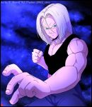 1boy black_border black_tank_top border chris_re5 clenched_hand dragon_ball dragon_ball_z fighting_stance frown hair_between_eyes male_focus medium_hair muscular muscular_male serious signature solo tank_top trunks_(dragon_ball) trunks_(future)_(dragon_ball) twitter_username upper_body v-shaped_eyebrows