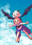 1boy 1girl animal_ears black_eyes black_wings blue_sky bright_pupils cat_boy cat_ears clouds cloudy_sky flip-flops flying full_body green_eyes highres luoxiaobai luoxiaohei murimajimuri open_mouth pants pink_hair sandals shoes short_hair sky smile the_legend_of_luo_xiaohei white_hair white_pupils wings