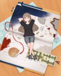 1girl :o animal arms_behind_head blood blood_stain book bookmark brown_eyes brown_hair cat check_commentary commentary_request denim denim_shorts flower highres long_hair lying money night night_sky on_back original oversized_object rose scorch_marks shorts silhouette sky yajirushi_(chanoma)