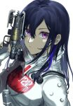 1girl apex_legends b3_wingman bangs black_hair black_nails bodysuit closed_mouth commentary cosplay gun hand_up handgun highres hisui_ill holding holding_gun holding_weapon ichinose_uruha long_hair looking_at_viewer lupinus_virtual_games multicolored_hair pistol quarantine_722_wraith simple_background solo streaked_hair upper_body violet_eyes virtual_youtuber vspo! weapon white_background white_bodysuit wraith_(apex_legends) wraith_(apex_legends)_(cosplay)