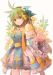 1girl absurdres arch_bishop_(ragnarok_online) bangs blue_dress bow breasts cleavage_cutout clothing_cutout commentary_request cowboy_shot cross dress dress_bow eyebrows_visible_through_hair flower frilled_dress frilled_sleeves frills green_hair grin hair_bow highres juliet_sleeves long_sleeves looking_at_viewer manoji medium_breasts official_alternate_costume orange_flower puffy_sleeves ragnarok_online reaching_out red_eyes sash short_hair simple_background smile solo thigh-highs two-tone_dress white_background white_dress white_flower white_legwear wide_sleeves yellow_bow yellow_flower yellow_sash
