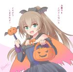 1girl alternate_costume bat_wings black_dress brown_hair cape commentary_request dress frilled_dress frills green_eyes highres icesherbet jack-o'-lantern kantai_collection kumano_(kancolle) long_hair looking_at_viewer off-shoulder_dress off_shoulder one-hour_drawing_challenge orange_cape ponytail solo translation_request wand wings