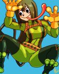 1girl aaronhibiki against_glass asui_tsuyu belt black_eyes blush_stickers bodysuit boku_no_hero_academia breasts climbing glass gloves green_bodysuit green_hair large_breasts long_hair long_tongue low-tied_long_hair skin_tight smile solo tongue tongue_out yellow_gloves
