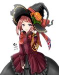 1girl ark_royal_(kancolle) artist_name black_dress black_headwear blue_eyes blush brown_gloves dated dress eyebrows_visible_through_hair fingerless_gloves flower gloves halloween halloween_costume hat highres jacket kantai_collection lips long_sleeves neck_ribbon open_mouth red_flower red_jacket red_ribbon red_rose redhead ribbon rose short_hair signature simple_background smile solo tk8d32 white_background witch_hat