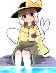 1girl absurdres arm_support bangs black_headwear blush bow breasts closed_mouth commentary_request eyebrows_visible_through_hair fang fang_out feet_out_of_frame frilled_shirt_collar frills green_eyes green_skirt hair_between_eyes hat hat_bow heart heart-shaped_pupils heart_of_string highres komeiji_koishi long_sleeves looking_at_viewer medium_hair shirt silver_hair simple_background sitting skirt small_breasts smile soaking_feet solo symbol-shaped_pupils third_eye topadori touhou water white_background yellow_bow yellow_shirt