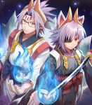 1boy 1girl animal_ears bangs blue_fire commentary_request eyebrows_visible_through_hair fire fox_boy fox_ears fox_girl fox_tail glasses hair_between_eyes hakama hand_up headgear highres holding holding_sword holding_weapon japanese_clothes kuon_(shinrabanshou) kyuubi long_hair long_sleeves multiple_tails penguu_(green528) red_eyes sash setsuna_(shinrabanshou) shinrabanshou silver_hair sword tail very_long_hair weapon