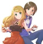 1boy 1girl bangs blonde_hair blush bracelet breasts brown_hair brown_shirt calem_(pokemon) closed_mouth collared_shirt commentary_request eyelashes floating_hair green_eyes high-waist_skirt highres holding holding_poke_ball jacket jewelry kamonohashi_(19881001) long_hair looking_at_viewer pants pleated_skirt poke_ball poke_ball_(basic) pokemon pokemon_(game) pokemon_xy serena_(pokemon) shiny shiny_hair shirt simple_background skirt sleeveless sleeveless_shirt smile sparkle textless white_background